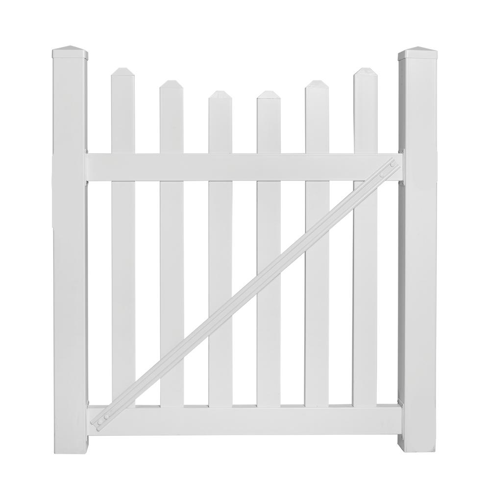 Ellington 4 ft. W x 4 ft. H White Vinyl Picket