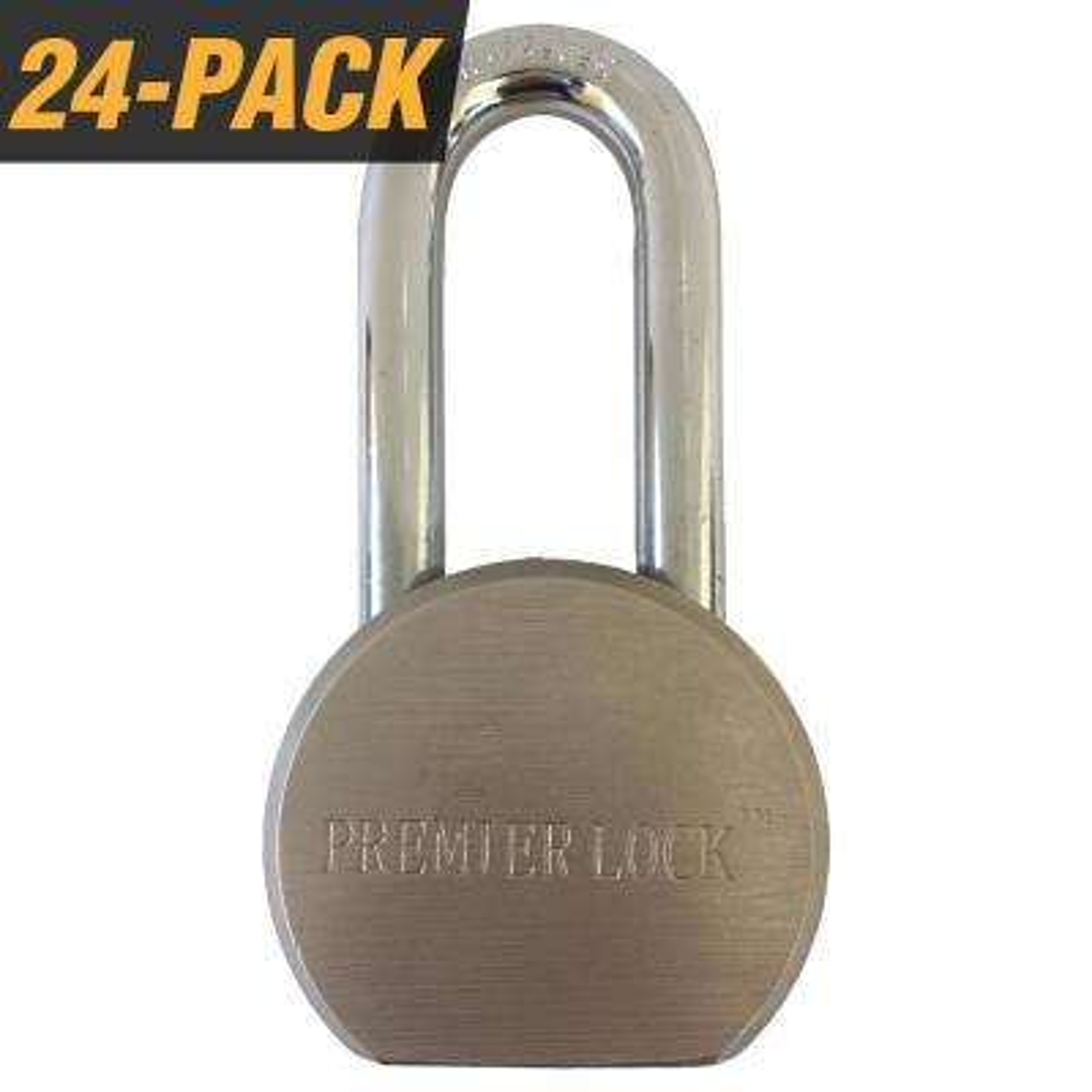 Premier Solid Steel Commercial Gate Keyed Padlock with Long Shackle and 72 Keys Total, (24-Pack, Keyed Alike)