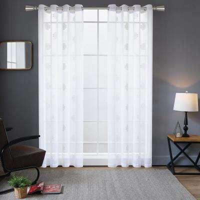 Harper Embroidery Sheer Polyester Curtain in White - 84 in. L x 52 in. W