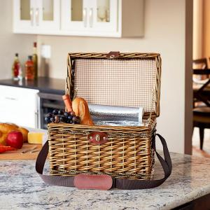 Household Essentials 11.8 inch x 15.75 inch Willow and Seagrass Picnic Basket with Cooler by Household Essentials
