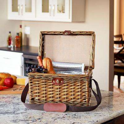 11.8 in. x 15.75 in. Willow and Seagrass Picnic Basket with Cooler