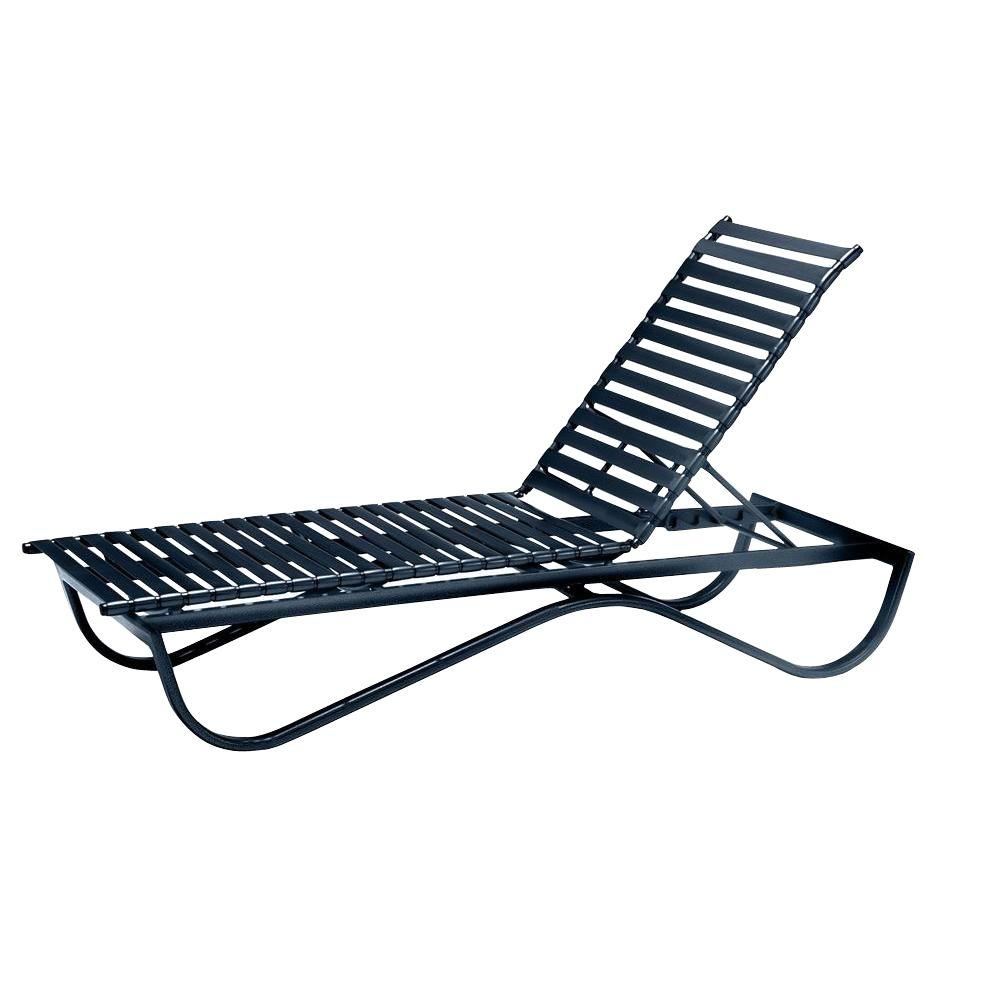 Tradewinds Scandia Black Commercial Strap Stackable Patio Chaise Lounge