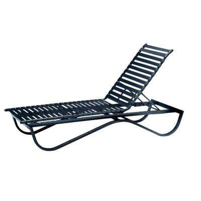 Scandia Black Commercial Strap Stackable Patio Chaise Lounge