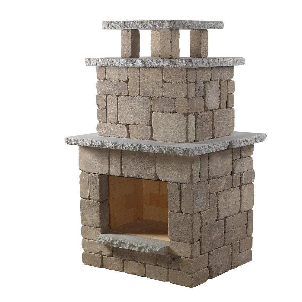 Necessories - Santa Fe Tumbled Concrete Compact Fireplace - Comes complete with everything needed to build