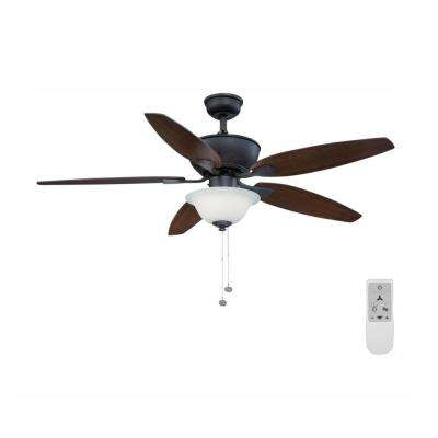 Carrolton II 52 in. LED Oil Rubbed Bronze Ceiling Fan with Light and Remote Control works with Google and Alexa