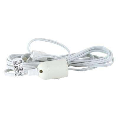 18/2 12 ft. White Hanging Lamp Light Cord with E26 Socket