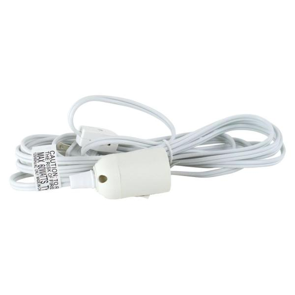 12 Ft White Hanging Lamp Light Cord