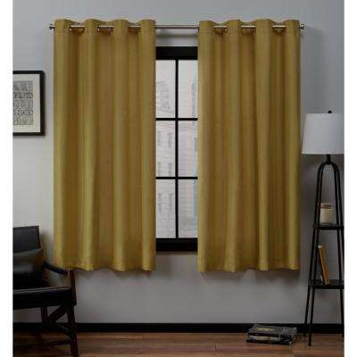 Loha 54 in. W x 63 in. L Linen Blend Grommet Top Curtain Panel in Honey Gold (2 Panels)