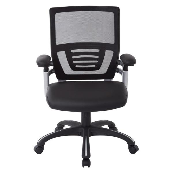 Office Star Products Black Faux Leather Managers Chair with Adjustable Mesh