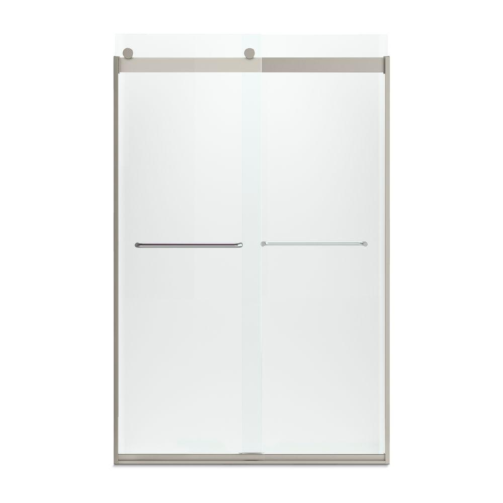 Levity 48 in. x 74 in. Semi-Frameless Sliding Shower Door in