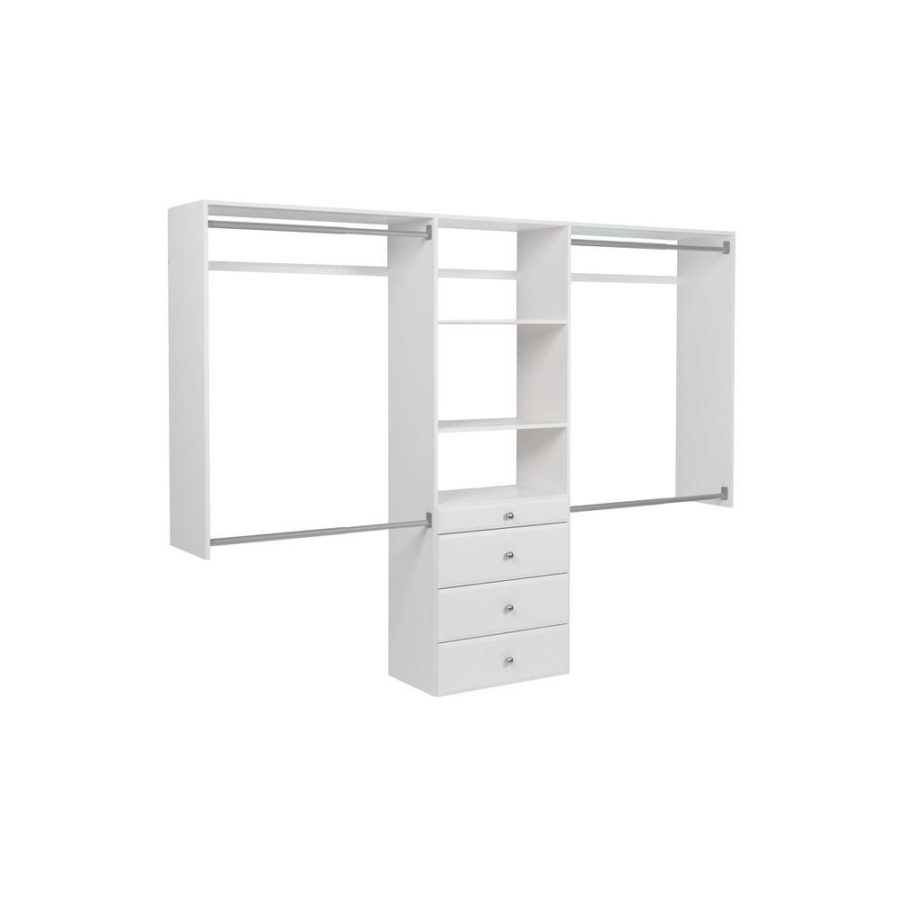 Martha Stewart Living 14 in. D x 96 in. W x 72 in. H Classic White Ultimate Wood Closet System Kit