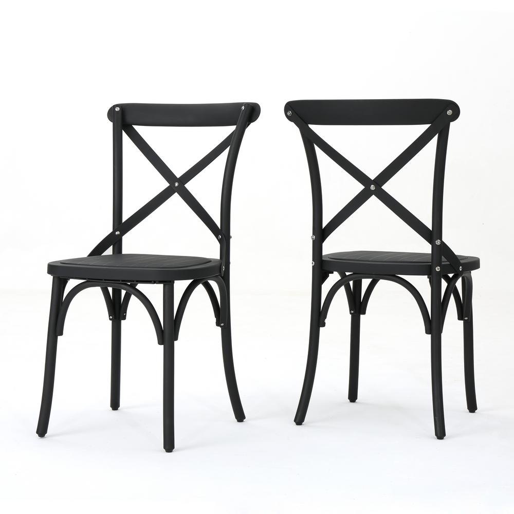 Le House Sergio Clic Black Farmhouse Plastic Outdoor Dining Chair 2 Pack