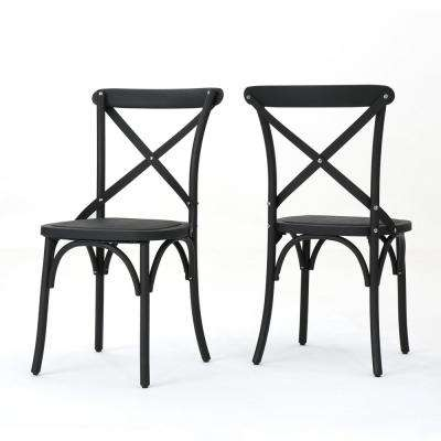 Sergio Classic Black Farmhouse Plastic Outdoor Dining Chair (2-Pack)