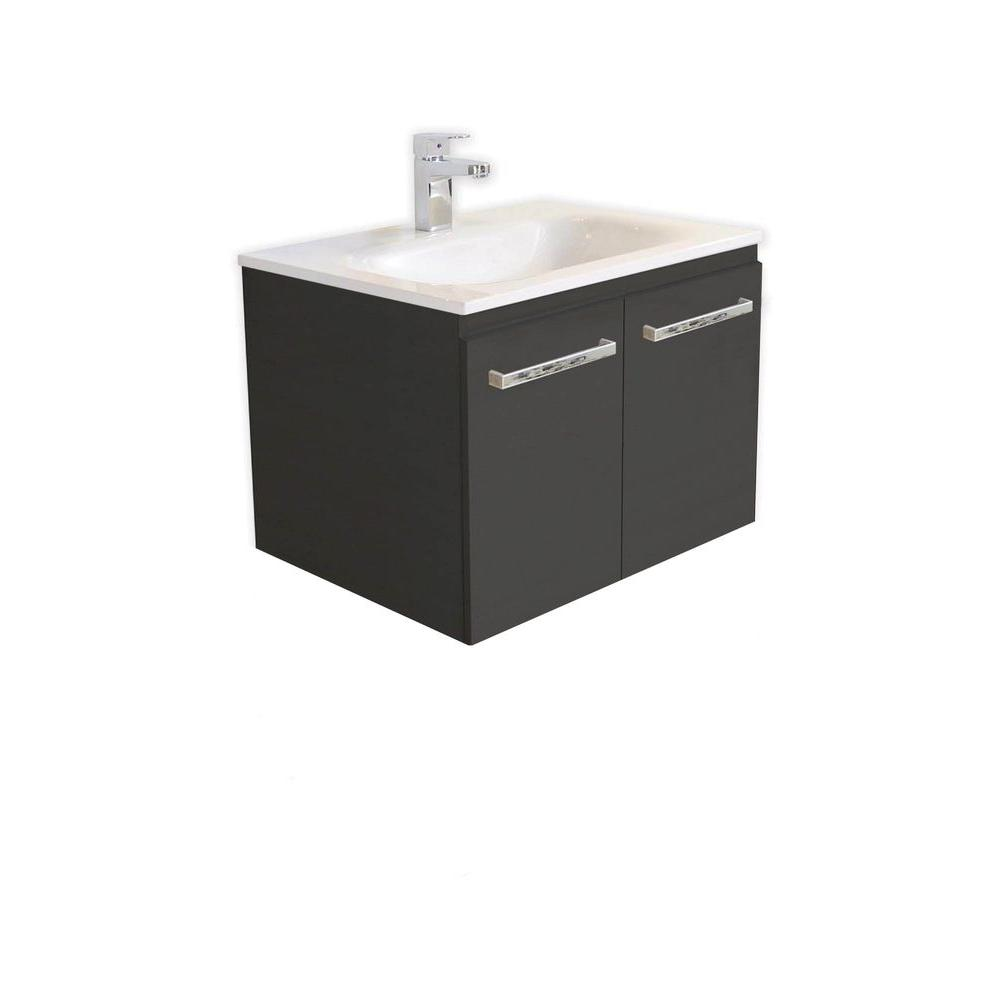 Architectural Designer Products Diana Collection Twin 600 23-3/4 in. 2-Door Vanity in Espresso with Poly-Marble Vanity Top in White-DISCONTINUED