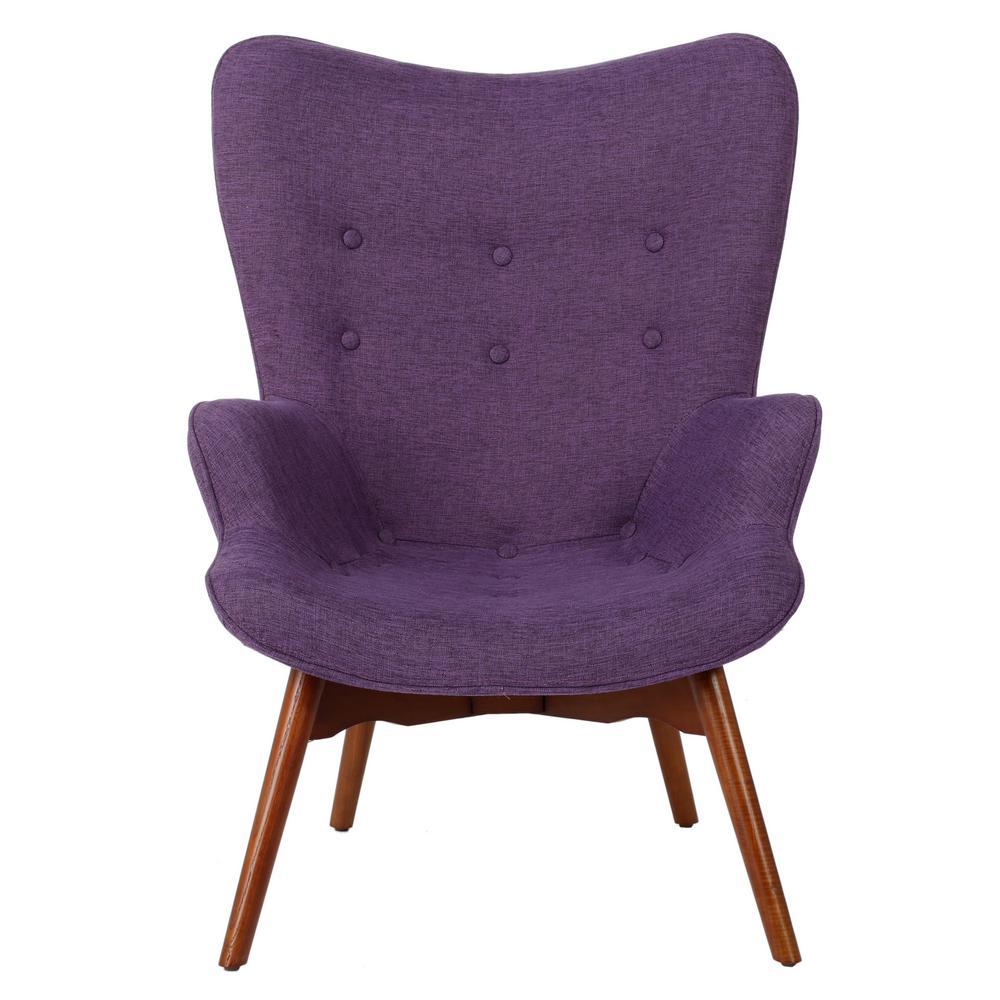 Hariata Muted Purple Fabric Contour Chair