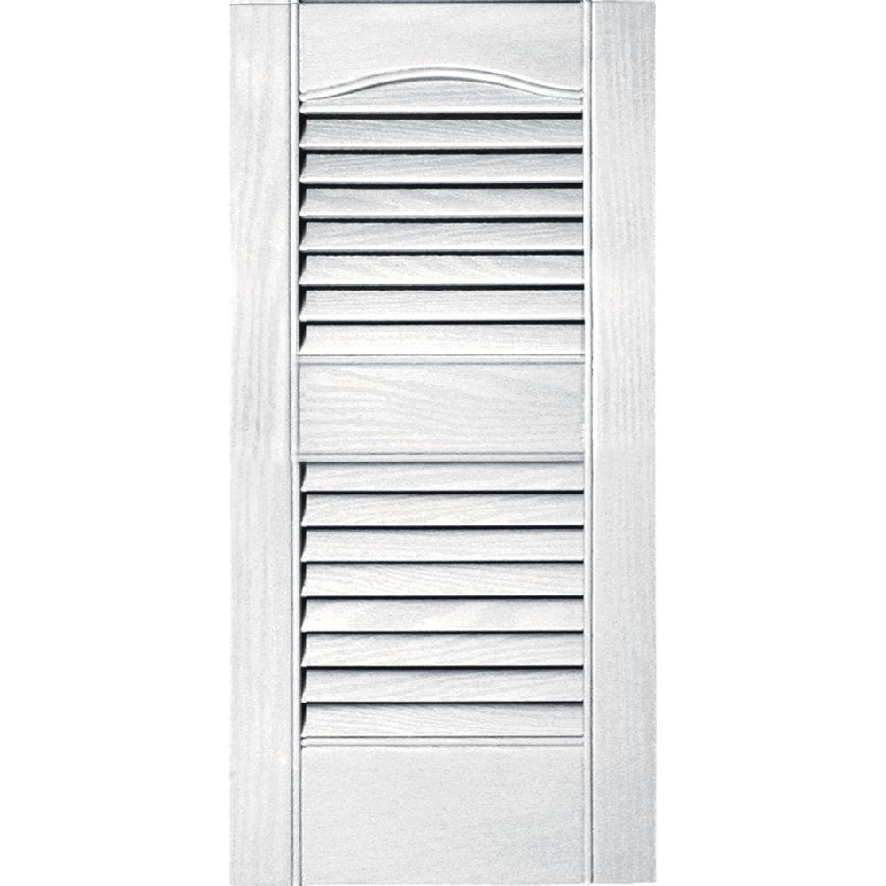Builders edge 12 in x 25 in louvered vinyl exterior shutters pair 117 bright white for Home depot exterior vinyl window shutters