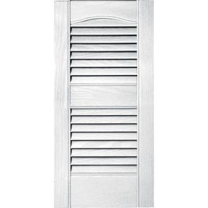 Builders Edge 12 in. x 25 in. Louvered Vinyl Exterior Shutters ...