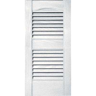 12 in. x 25 in. Louvered Vinyl Exterior Shutters Pair #117 Bright White
