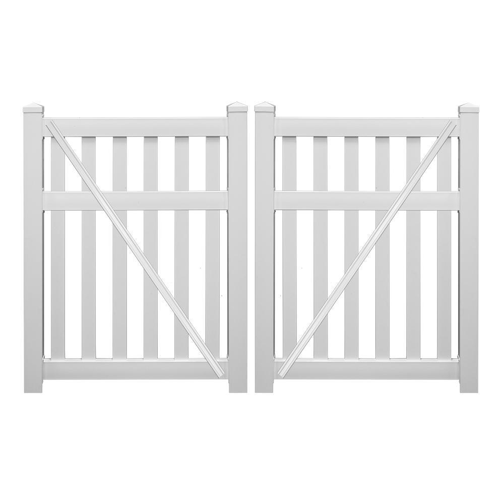 Captiva 8 ft. x 5 ft. White Vinyl Pool Double Fence Gate