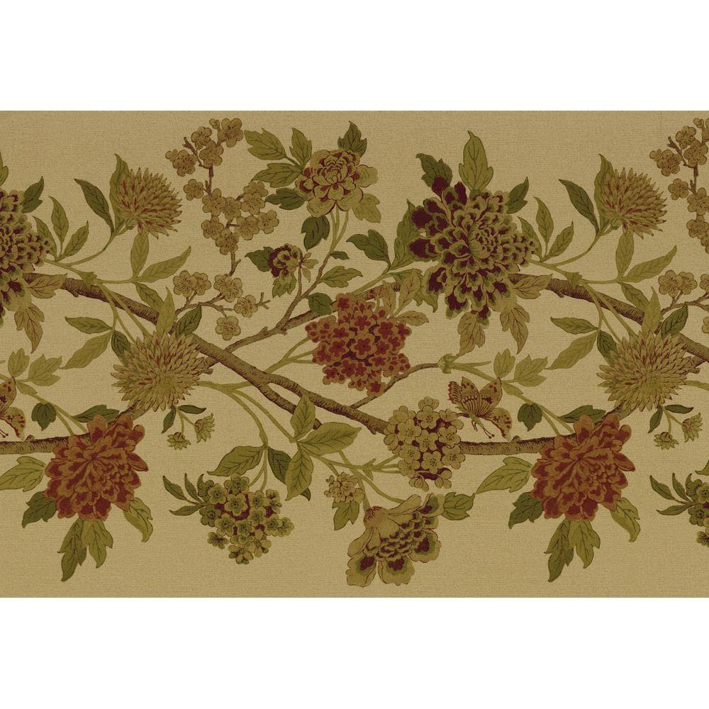 The Wallpaper Company 8 in. x 10 in. Green Large Floral Trail Border Sample