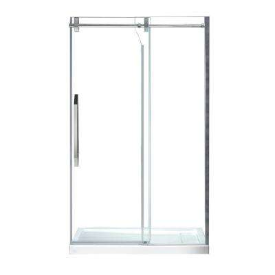 Antigua 48 in. x 78.74 in. Frameless Sliding Shower Door in Chrome with Handle