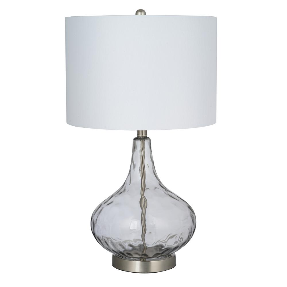 Cresswell Cresswell 25.5 in. Smoked Gray Glass with Brushed Nickel Accents Table Lamp