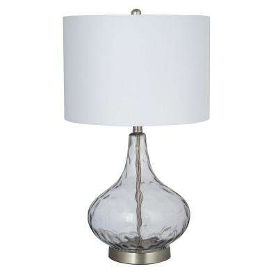 25.5 in. Smoked Gray Glass with Brushed Nickel Accents Table Lamp and LED Bulb Included