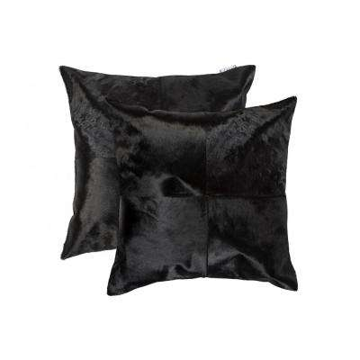 Torino Quattro Cowhide 18 in. x 18 in. Black Pillow (Set of 2)