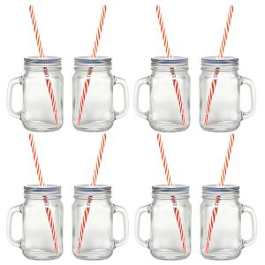 12-Piece Glass Mason Jar Set with Eco-Friendly Reusable Straws