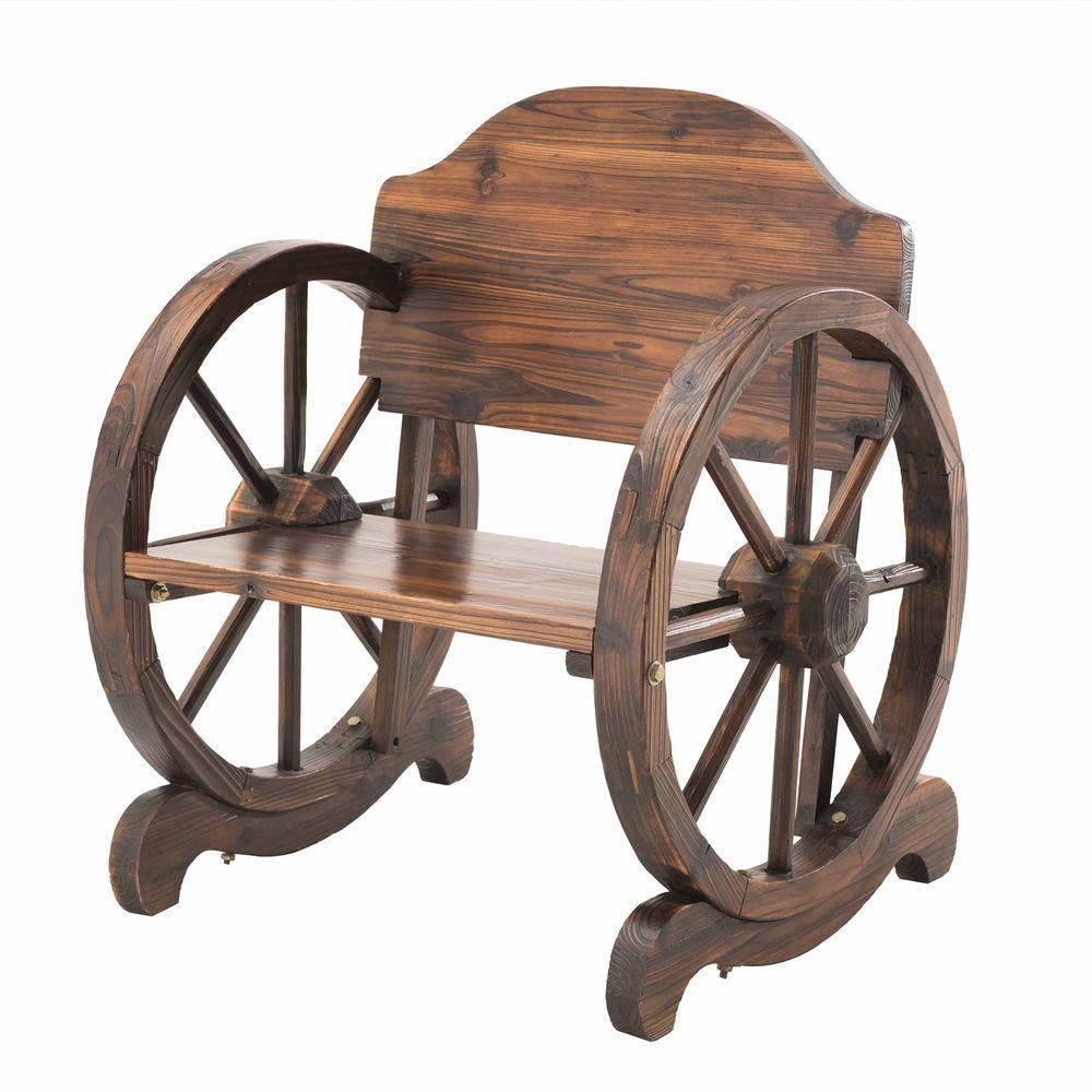 Dark Brown Rustic Wood Patio Lawn Chair