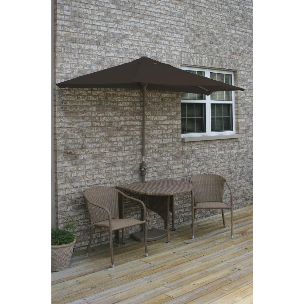 Blue Star Group Terrace Mates Genevieve 5-Piece Coffee Patio Bistro Set with 7.5 ft. Chocolate Sunbrella Half-Umbrella