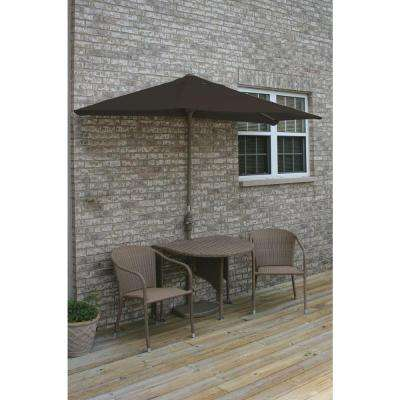 Terrace Mates Genevieve 5-Piece Coffee Patio Bistro Set with 7.5 ft. Chocolate Sunbrella Half-Umbrella