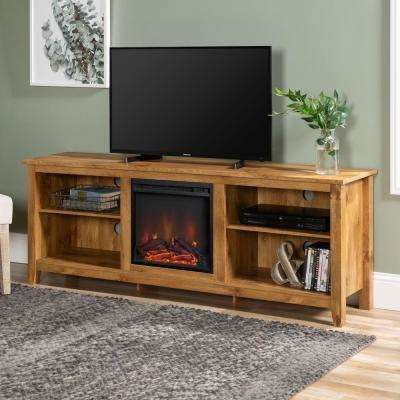 Barnwood 70 In Wood Media Tv Stand Console With Fireplace