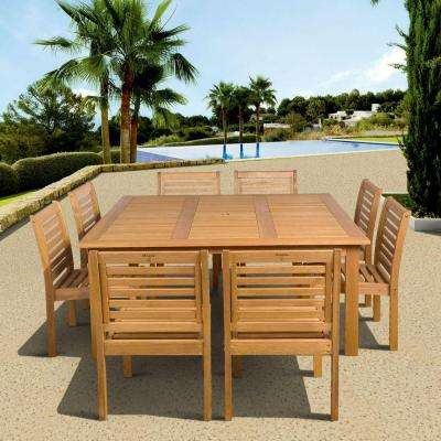Eucalyptus 9-Piece Armless Square Patio Dining Set