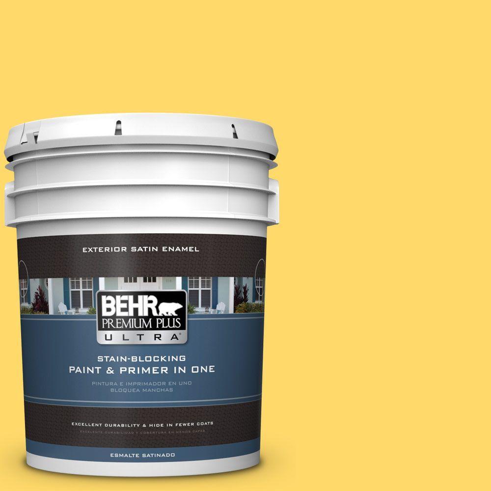 BEHR Premium Plus Ultra 5-gal. #360B-5 Citrus Satin Enamel Exterior Paint