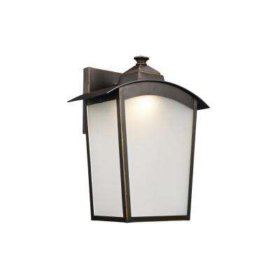 1-Light Rubbed Oil Bronze Outdoor Integrated LED Wall Mount Lantern