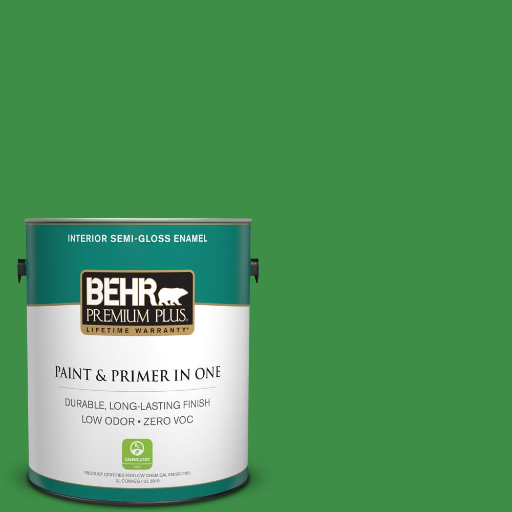 BEHR Premium Plus 1-gal. #P390-7 Park Picnic Semi-Gloss Enamel Interior Paint