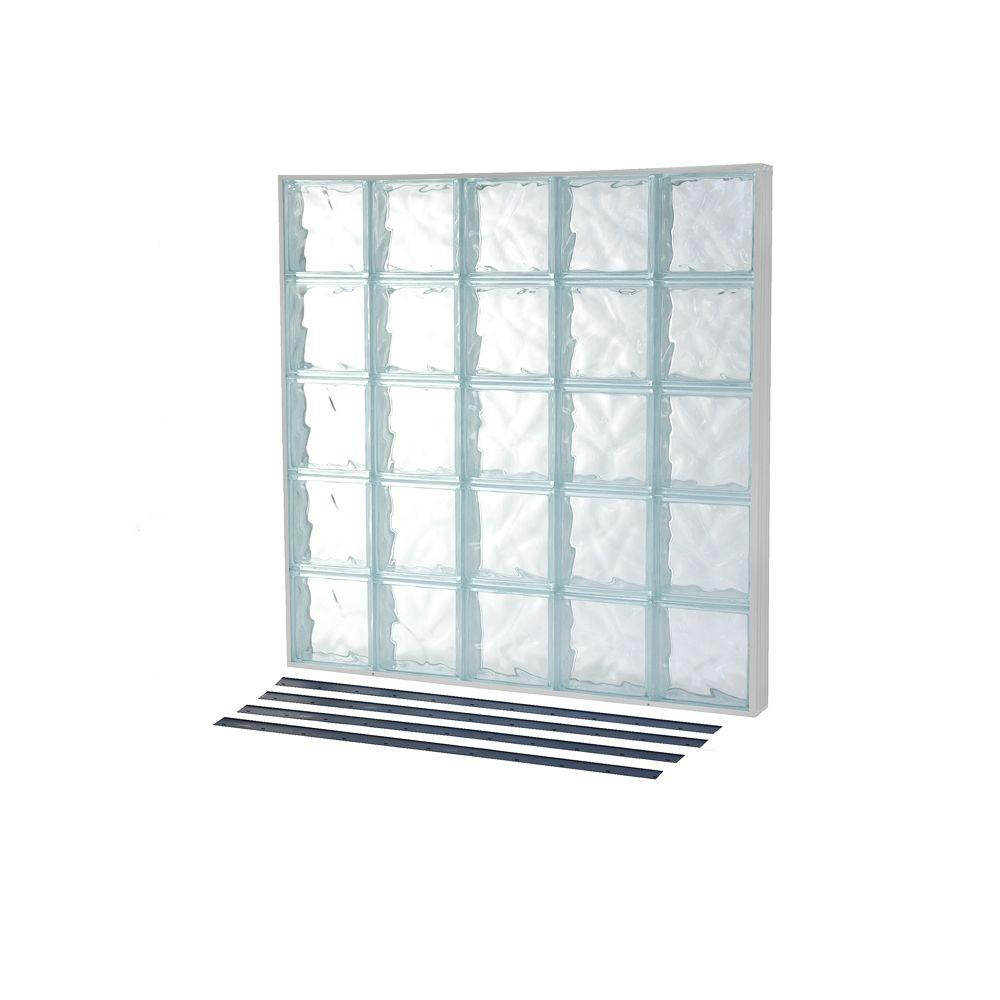 TAFCO WINDOWS 39.25 in. x 39.25 in. NailUp2 Wave Pattern Solid Glass ...