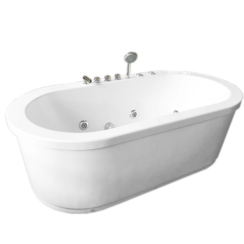 Rio 72.8 in. Acrylic Flatbottom Whirlpool Bathtub in White