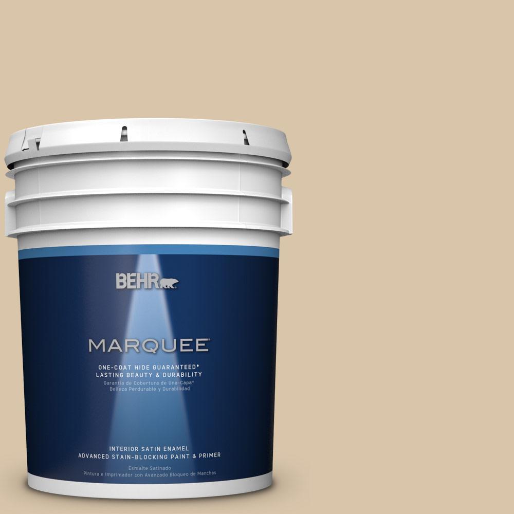 5 gal. #MQ2-23 Almond Butter One-Coat Hide Satin Enamel Interior Paint