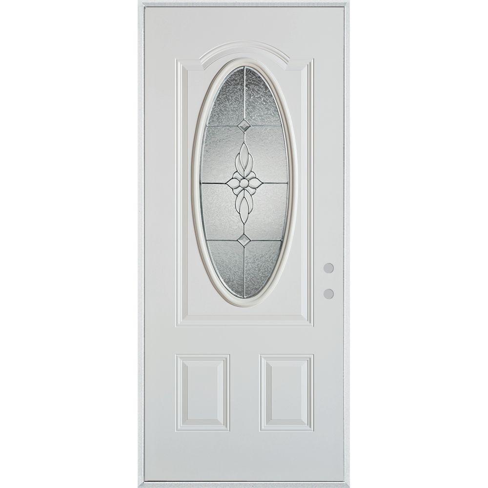 32 in. x 80 in. Victoria Zinc 3/4 Oval Lite 2-Panel Painted White Left-Hand Inswing Steel Prehung Front Door