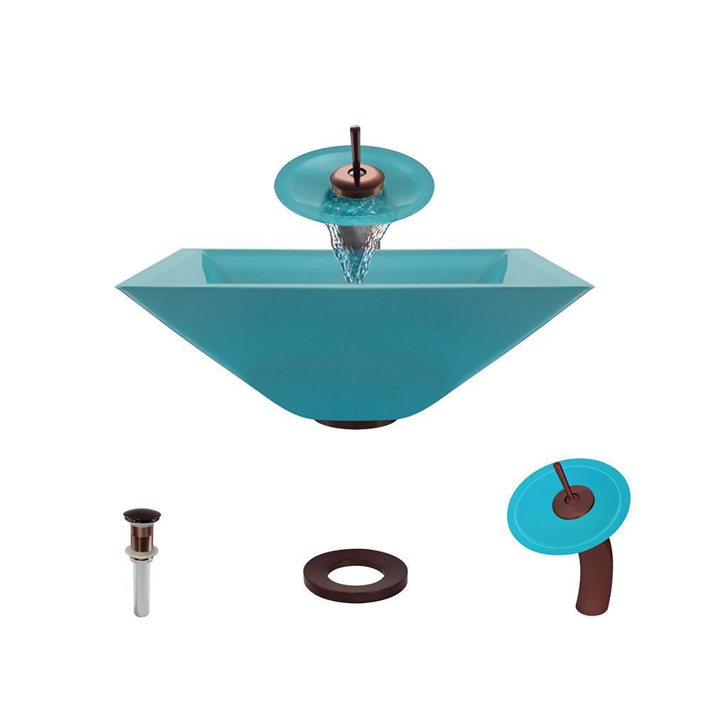 Glass Vessel Sink In Turquoise With Waterfall Faucet And Pop Up Drain