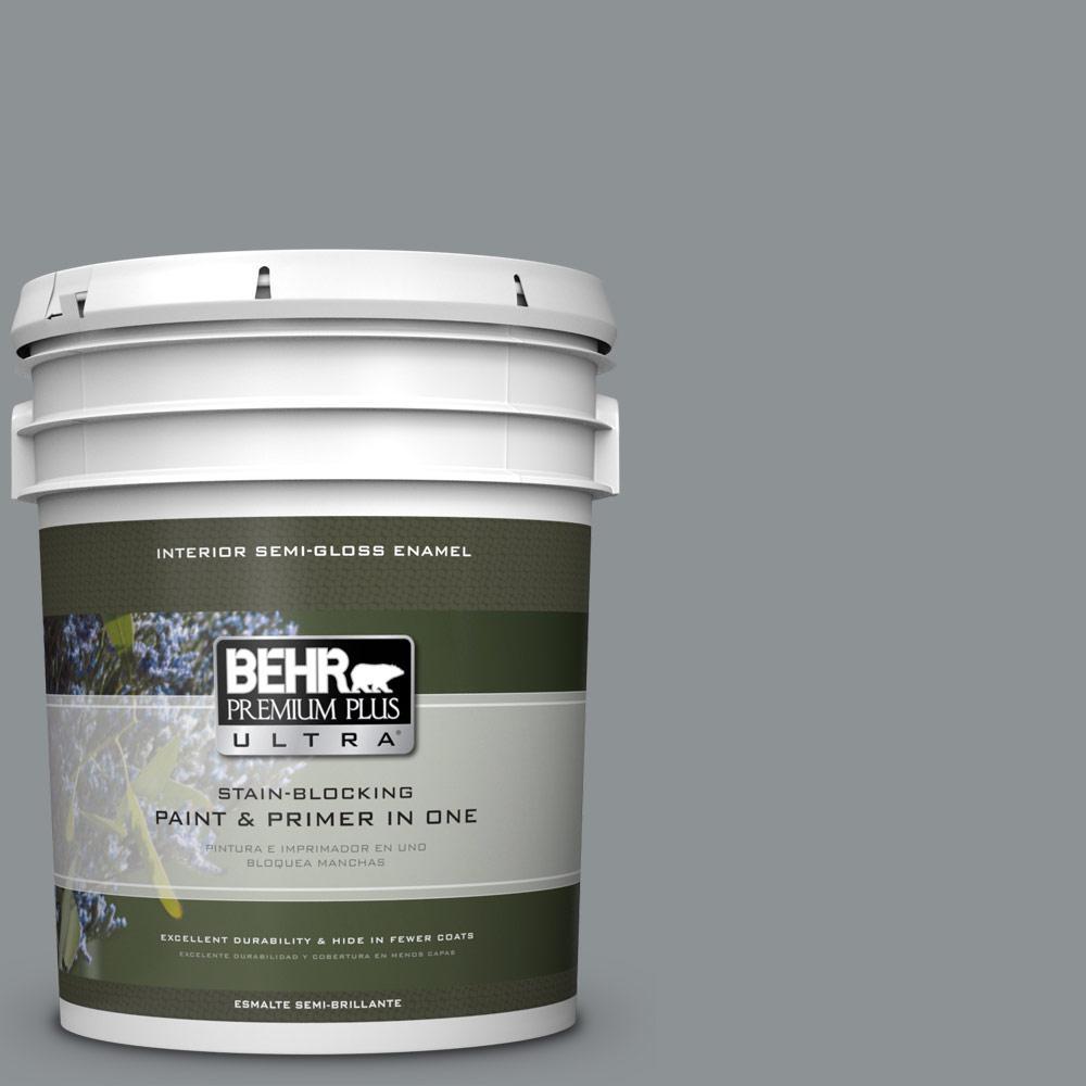 5 gal. #PPU26-05 Flint Gray Semi-Gloss Enamel Interior Paint