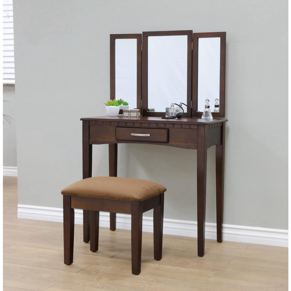 Details about Espresso Vanity Set 3-Piece Bedroom Makeup Seat Table Drawer  Adjustable Mirror