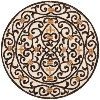 Chelsea Ivory/Brown 4 ft. x 4 ft. Round Area Rug