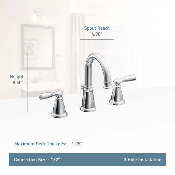 Moen Banbury 8 In Widespread 2 Handle High Arc Bathroom Faucet In Spot Resist Brushed Nickel 2 Pack Combo 84924sn 8w 2pk The Home Depot
