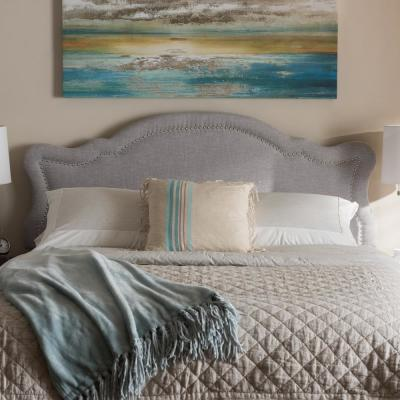 Avery Greyish Beige Fabric Upholstered Queen Size Headboard