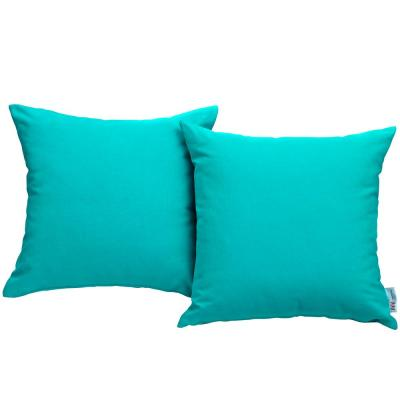 Convene Patio Square Outdoor Throw Pillow Set in Turquoise (2-Piece)