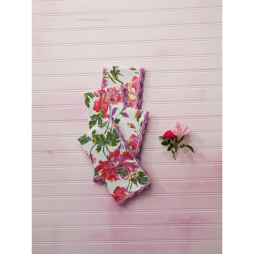 Greta's Garden Ecru Floral Crochet Trimmed Napkins (Set of 4)