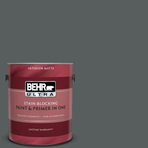 1 gal. #N500-6 Graphic Charcoal Matte Interior Paint and Primer in One